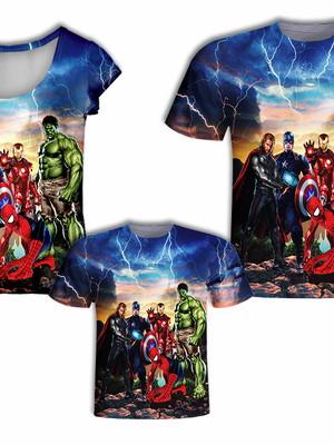 Camisa Pai e Filho + Camisa Mãe - Heróis 7