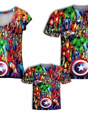 Camisa Pai e Filho + Camisa Mãe - Todos os Heróis
