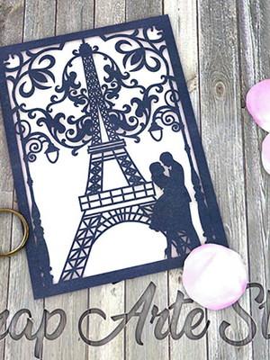 Arquivo para convite Torre Eiffel com noivos