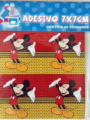 Adesivo Quadrado Mickey Vermelho 7x7cm (20 unid.)