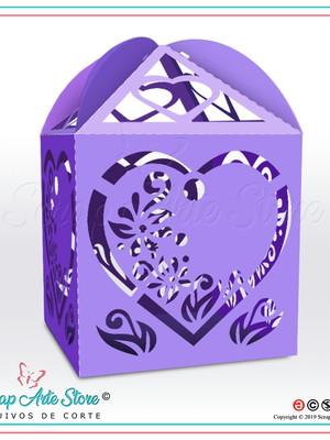 Caixa para lembrança de casamento Coração Floral