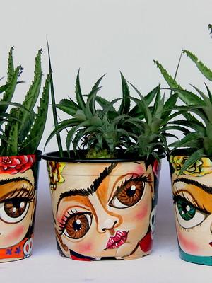 Frida Kahlo | kit com 3 vasos médios