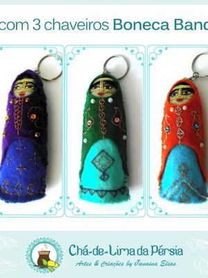 Kit 3 Chaveiros em feltro boneca iraniana