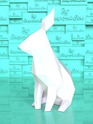 Arquivos de corte Coelho papercraft low poly