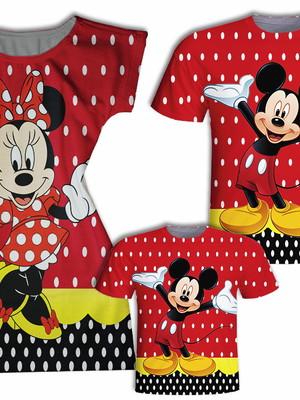 Camisa Pai e Filho + Vestido Mãe - Mickey e Minnie Poá