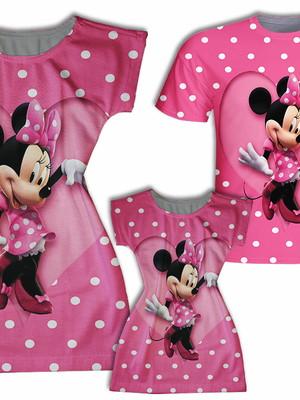 Vestido Mãe e Filha + Camisa Pai - Minie Rosa