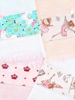 Toalha Escolar Menina com Barrado Felpuda 20 x 36 cm