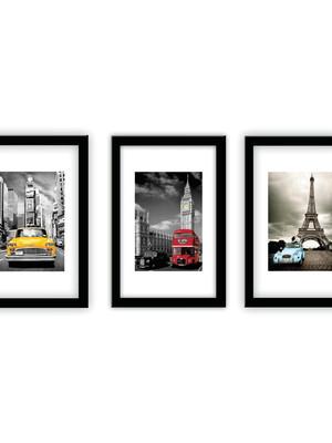 Trio de Quadros Fotografias modelo caixa com moldura e vidro