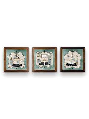 Kit 3 Quadros Moldura Marrom, com Vidro Tam. 18 x 18 cm cada