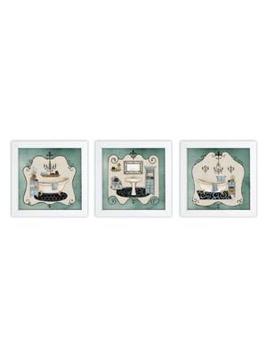Kit 3 Quadros Moldura Branca, com Vidro Tam. 18 x 18 cm cada