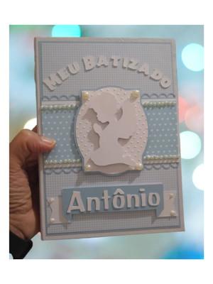 álbum personalizado fotos batizado bebê menino scrapbook