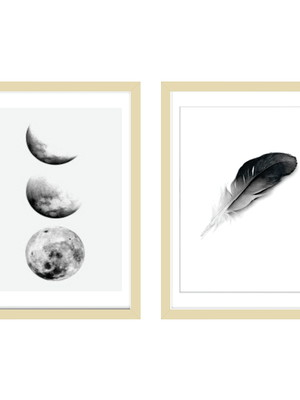 Dupla de Quadros com Posteres Minimalistas, Moldura e Vidro