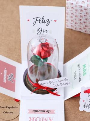 Caixa Explosiva com Rosa na Redoma - Dia das Mães