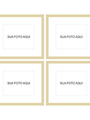 Kit de 4 Molduras Completas para Fotos com vidro