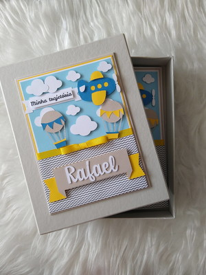 álbum fotos e caixa personalizado bebê menino balão scrap
