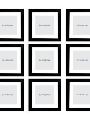 Conjunto com 9 Molduras Pretas para Imagens, Moldura e Vidro