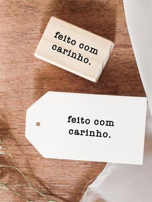 Carimbo 4x3 cm   Feito Com Carinho (Typewriter)