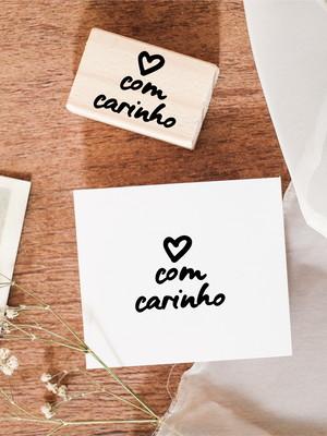 Carimbo 4x3 cm   Com Carinho (Coração)