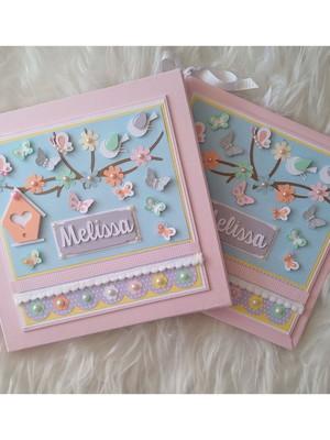 livro diário bebê menina e caixa jardim encantado scrapbook