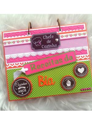 caderno receitas fichário personalizado scrapbook pink