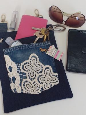Cartucheira Feminina jeans - Pronta Entrega