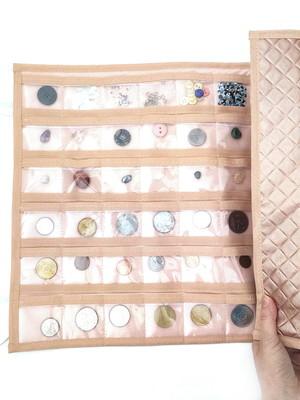 estojo 60 bolsinhos para colecionador porta pedras moedas *