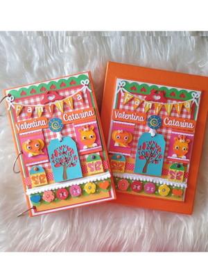 caixa álbum 100 fotos 15X21 scrap família cores vivas