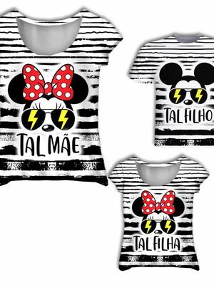 Camisas Mãe, Filha e Filho - Mickey e Minnie Tal Mãe,