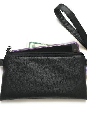 carteira alça de mão porta celular com zíper *