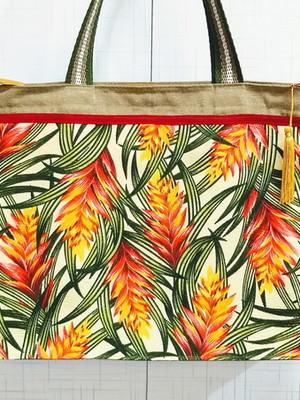 Sacola de Tecido Floral com Zíper 32x10x40 cm