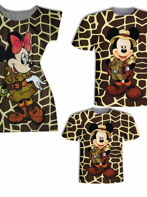 Camisa Pai e Filha + Vestido Mãe - Mick e Mini Safari