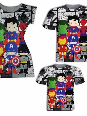 Camisa Pai e Filho + Vestido Mãe - Heróis Cute