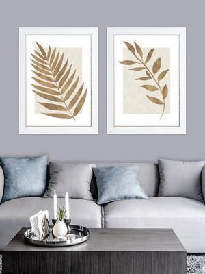 Kit com 2 Quadros Folhas, Moldura e Vidro, Tam. 40 x 60