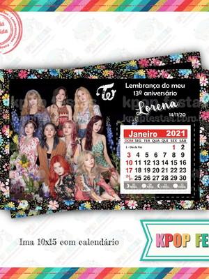 Imã 10x14 com calendário - Twice