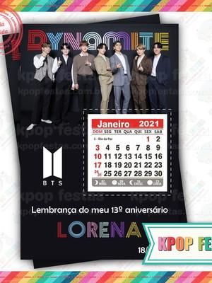 Imã 10x14 com calendário - BTS Dynamite