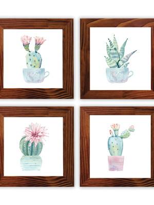 Quarteto de Quadros com moldura e vidro 30 x 30 cm cada