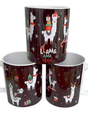 Caneca Cerâmica Com Frase Lhama Ama Natal