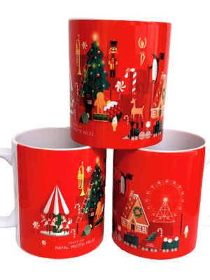 Caneca Decorada de Natal de Cerâmica