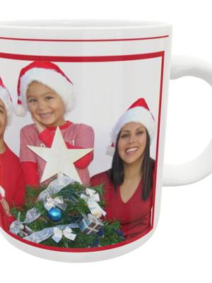 Caneca Personalizada de Cerâmica Feliz Natal Com Sua Foto