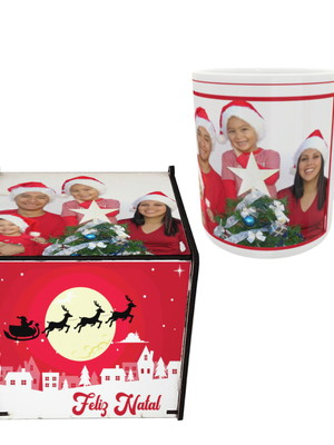 Kit Caneca e Caixinha Personalizadas com Sua Foto de Natal