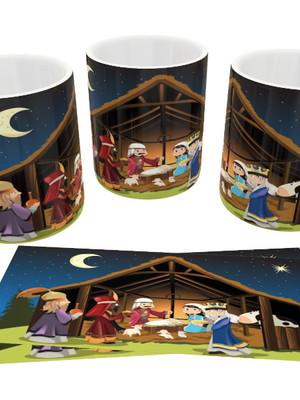 Caneca Decorada de Cerâmica Presépio de Natal