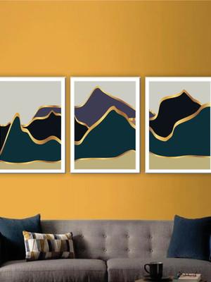 Kit com 3 Quadros Abstratos, Moldura e Vidro, Tam. 43 x 63