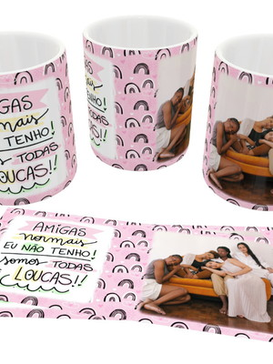 Caneca Personalizada Com Foto Grupo de Amigas Cerâmica