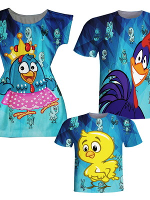 Camisa Pai e Filho + Vestido Mãe - Pintadinha