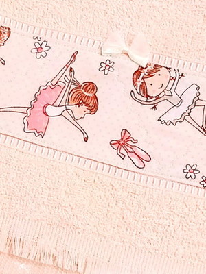 Toalha Escolar Menina Bailarina 20x36 cm Felpuda
