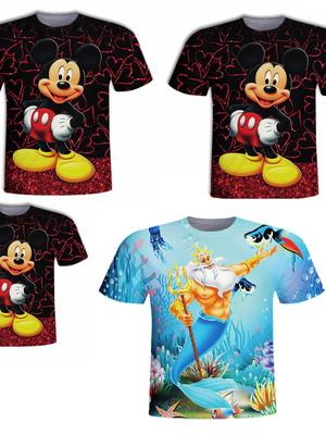 4 Camisas Adultas - Mickey e Rei Tritão