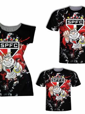 Camisetas Pai e Filho + Vestido Mãe - Time SP