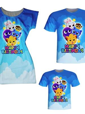 Camisetas Pai e Filho + Vestido Mãe - Bolos