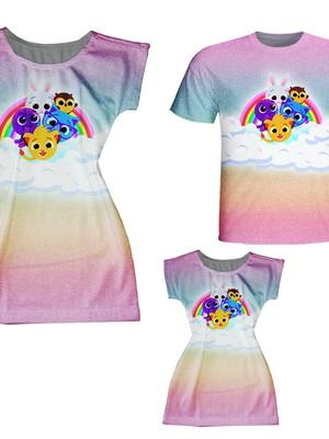 Vestidos Mãe e Filha + Camisa Pai - Bolos
