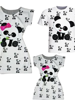 Vestidos Mãe e Filha + Camiseta Pai - Panda